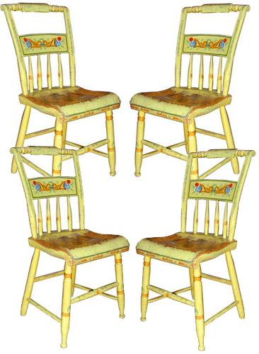 A Set of Four 19th Century American Hitchcock Polychrome Chairs No. 1987