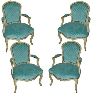 A Set of Four 18th Century Polychrome Louis XV Armchairs No. 1764