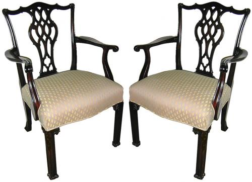 A Pair of 19th Century English Mahogany Chippendale Armchairs No. 695
