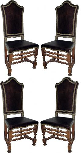 A Set of Four 17th Century Italian Baroque Walnut Side Chairs No. 631