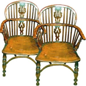 A Fine Pair of 18th Century English Yew Wood Windsor Chairs No. 511