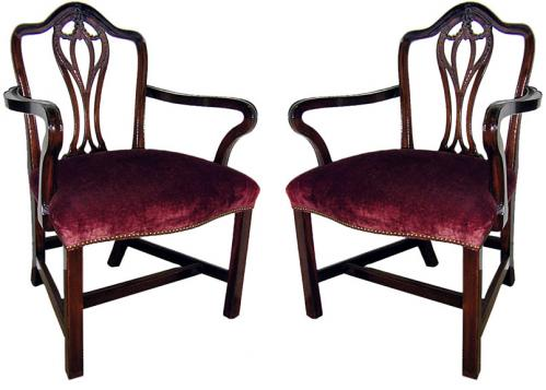 A Pair of 19th Century English Mahogany Chippendale Armchairs No. 435