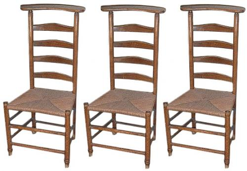 A Set of Three 19th Century French Provençal Louis-Philippe Elmwood Voyeuse Chairs No. 339