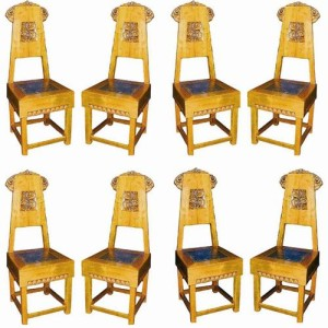 A Rare Set of Eight Late 19th Century Russian Birch Dining Side Chairs No. 2553