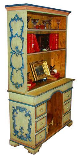 An 18th Century Italian Polychrome Bureau with Bookshelf No. 1850