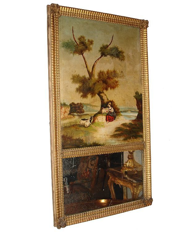 An 18th Century Polychrome and Parcel-Gilt French Trumeau Mirror No. 2946