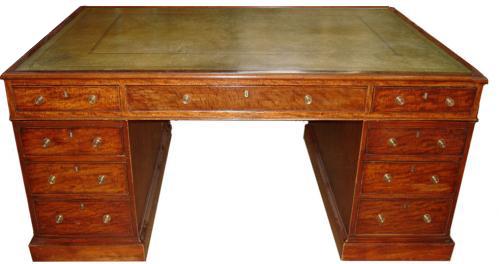 A 19th Century English Regency Lever London Mahogany Partners Desk No. 3395