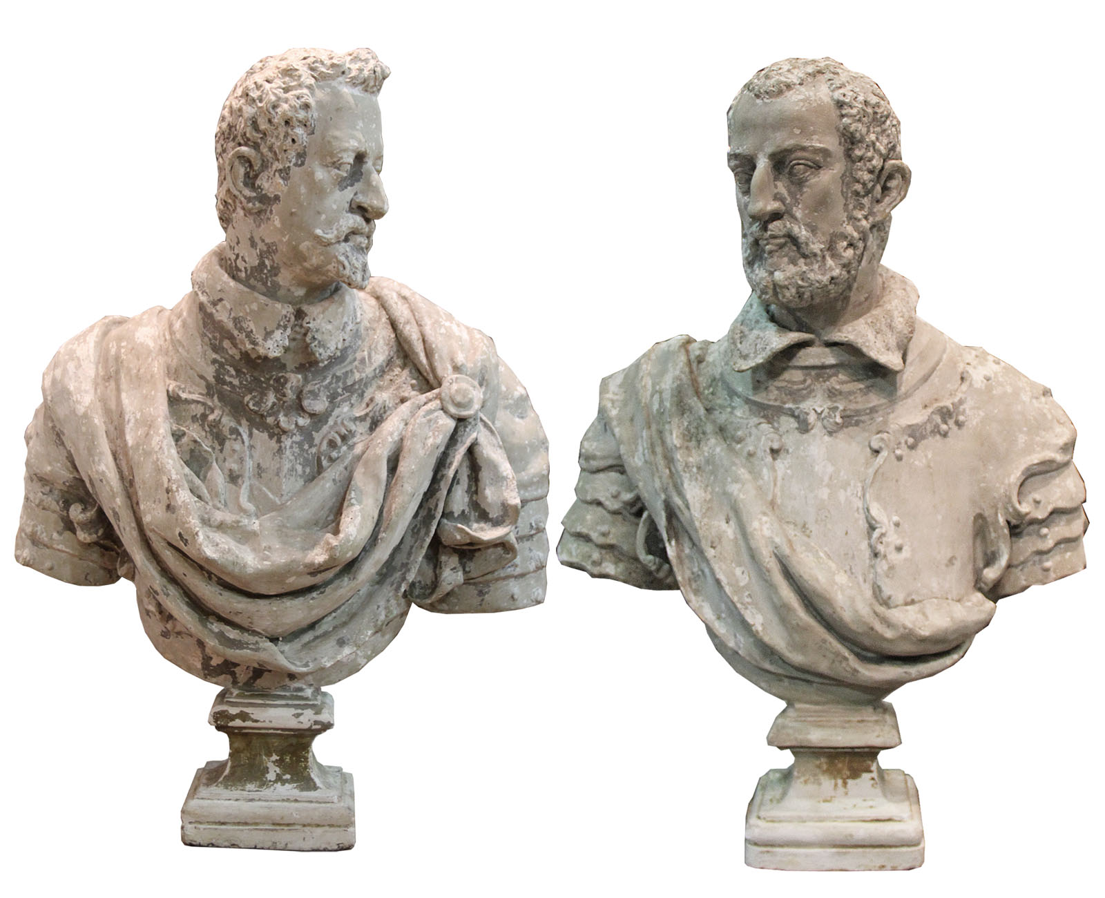 A Pair of Palazzo Scaled 19th Century Pietra di Vicentina Italian Busts No. 4524