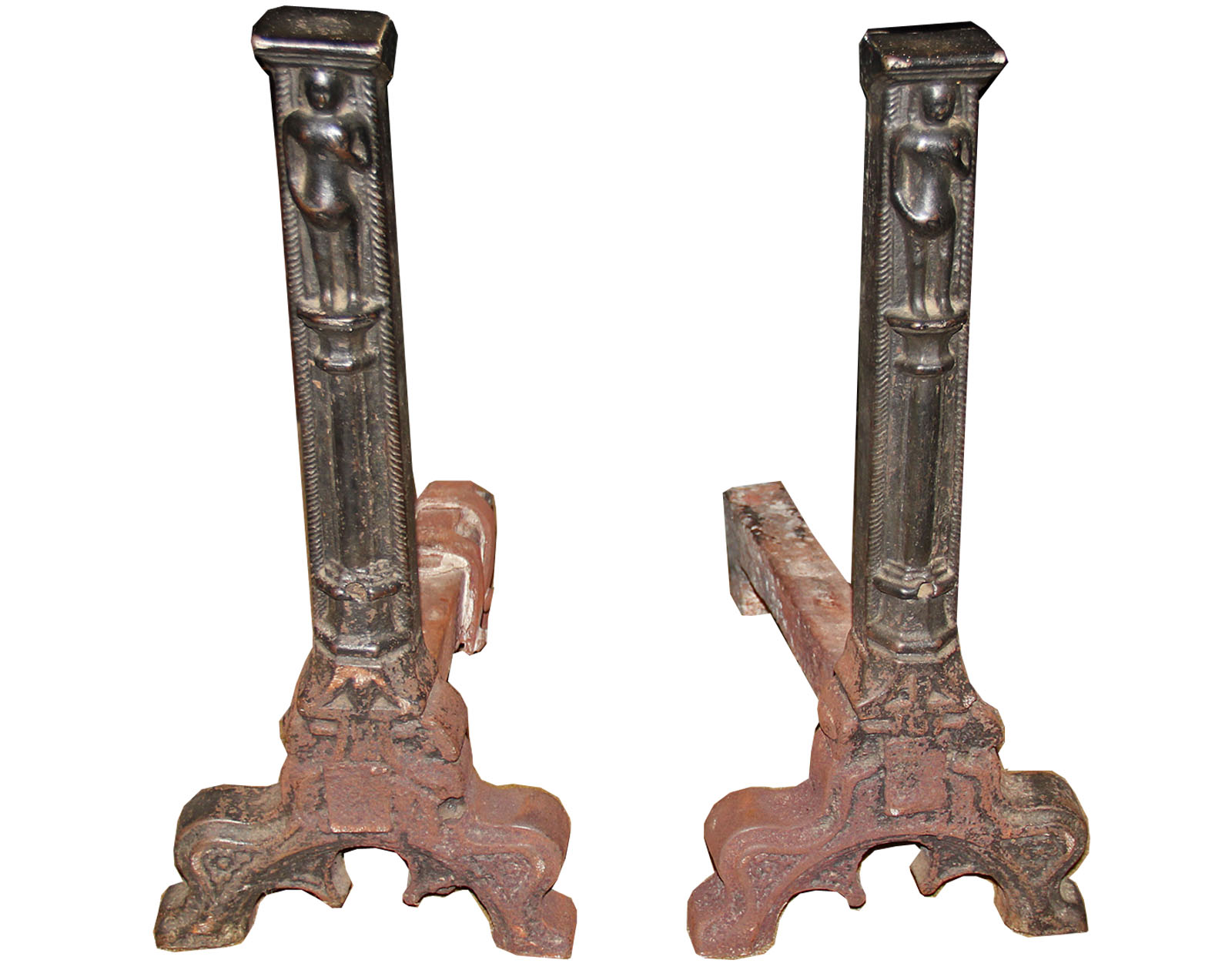 A Pair of 17th Century Flemish Gothic Wrought Iron Andirons No. 4527