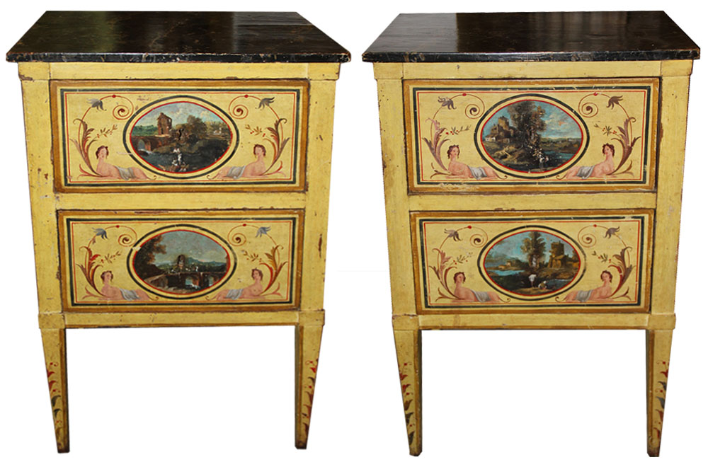 An Elegant Pair of 18th Century Neoclassical Luccan Louis XVI Polychrome Bedside Table Commodini No. 4557