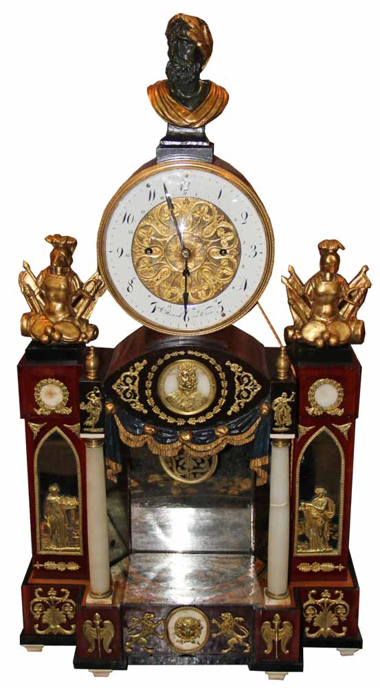 A 19th Century Hapsburg Monarchy Viennese Ormolu, Giltwood, Marble, Ebonized and Polychrome Palace Clock No. 4560
