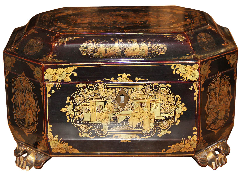 An Early 19th Century Chinese Black Lacquer Tea Caddy No. 4563