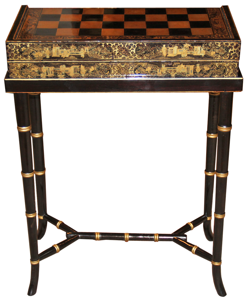 A 19th Century English Import Chinoiserie Black Lacquer Games or Cocktail Table No. 4572