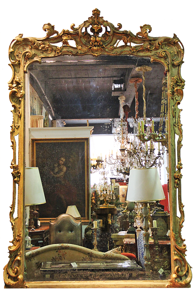 A Palatial Late 18th Century Italian Polychrome and Giltwood Mirror No. 4581