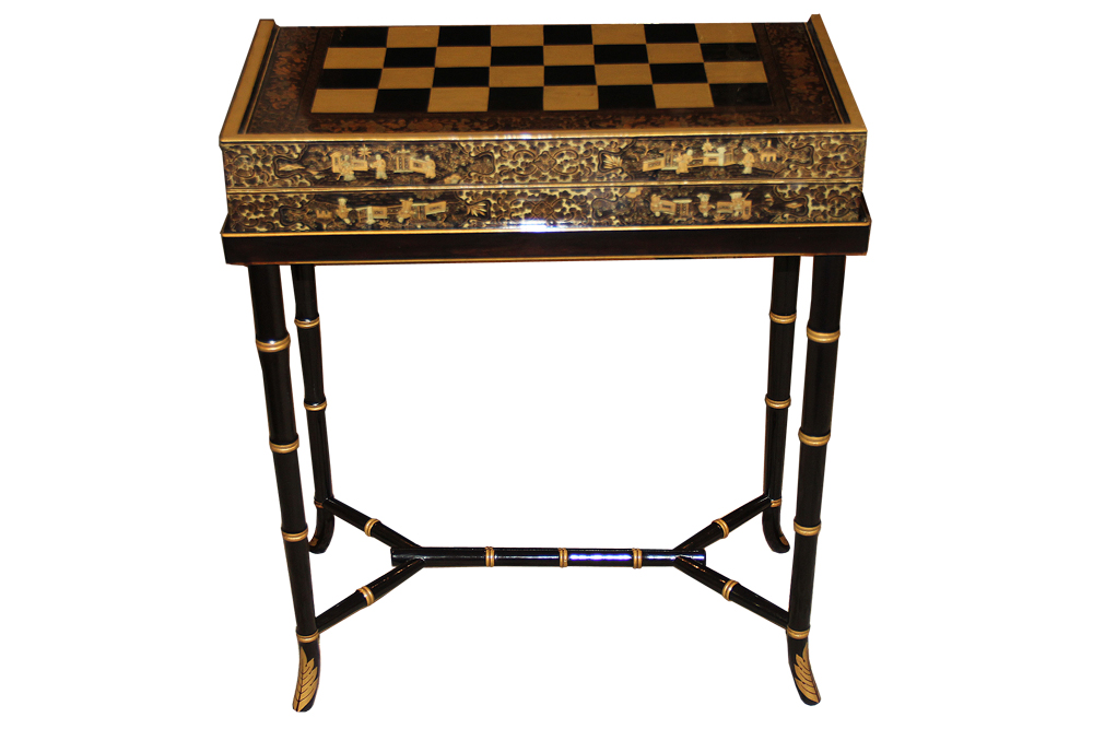 A 19th Century English Import Chinoiserie Black Lacquer Games or Cocktail Table No. 4583