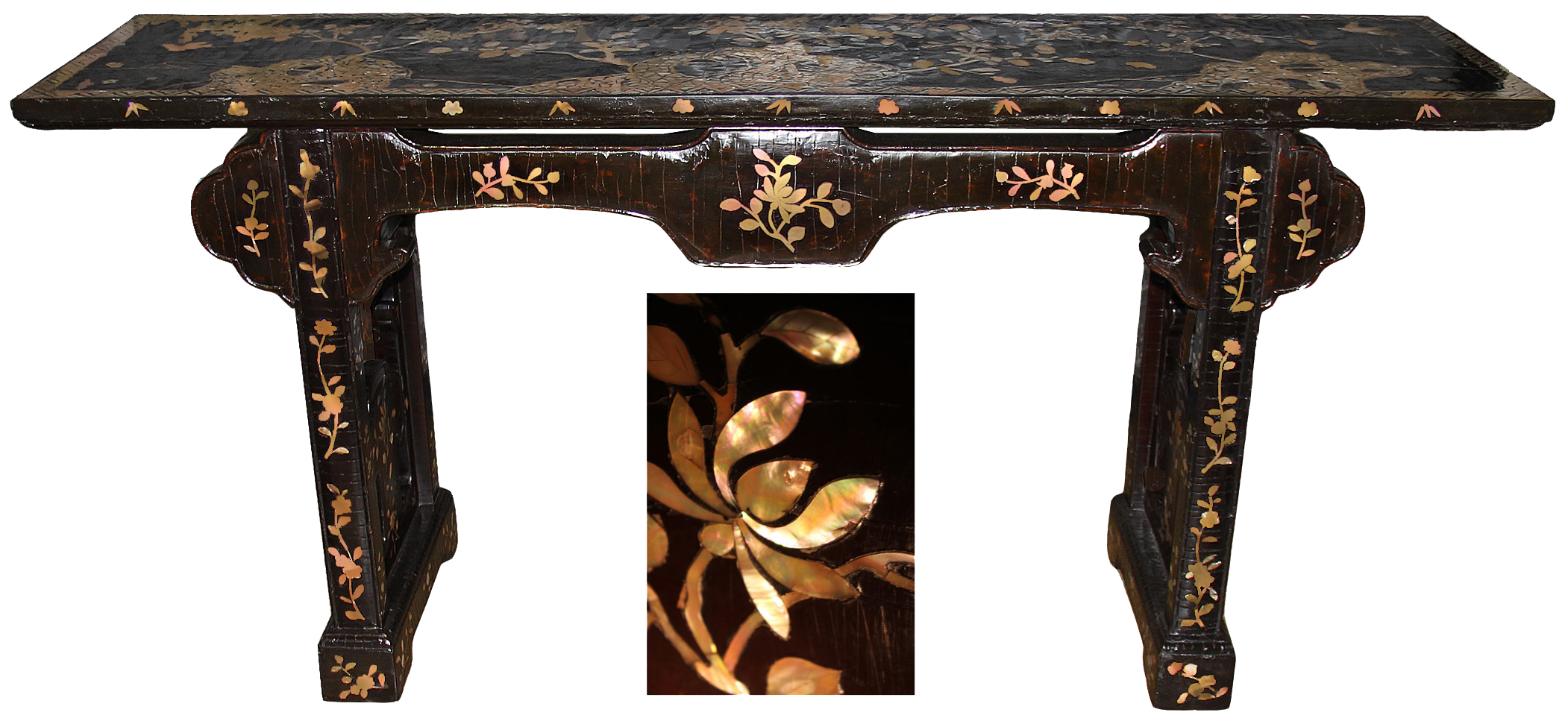 A Fine Late 17th Century (Post Manchu Invasion by China) Exuberantly Colorful Qing Dynasty Black Lacquer and Abalone Inlaid Altar (or Sofa) Table No. 4597