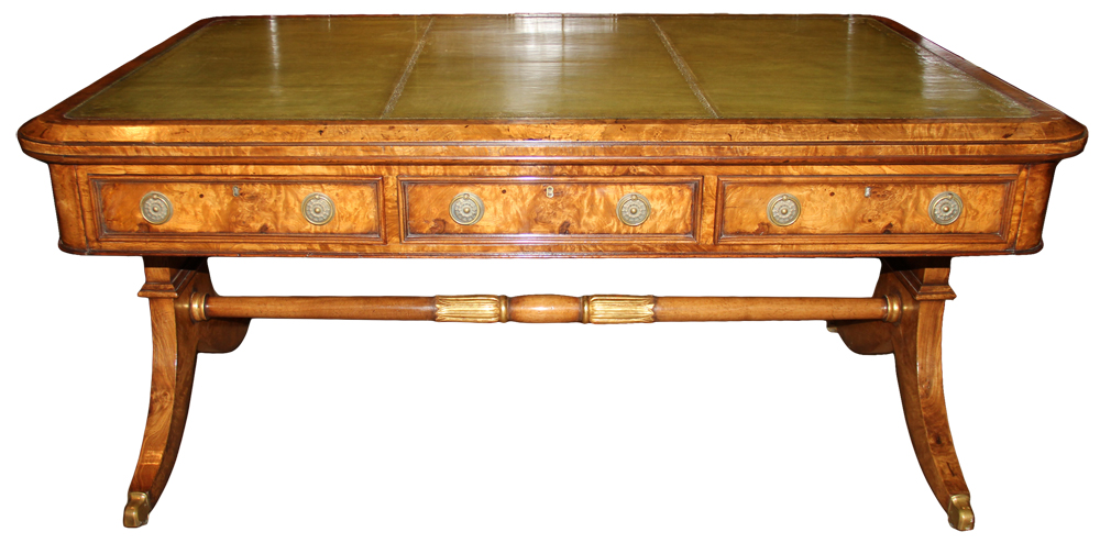 A 19th Century English Regency Burl Elmwood and Parcel-Gilt Partners Desk No. 4598