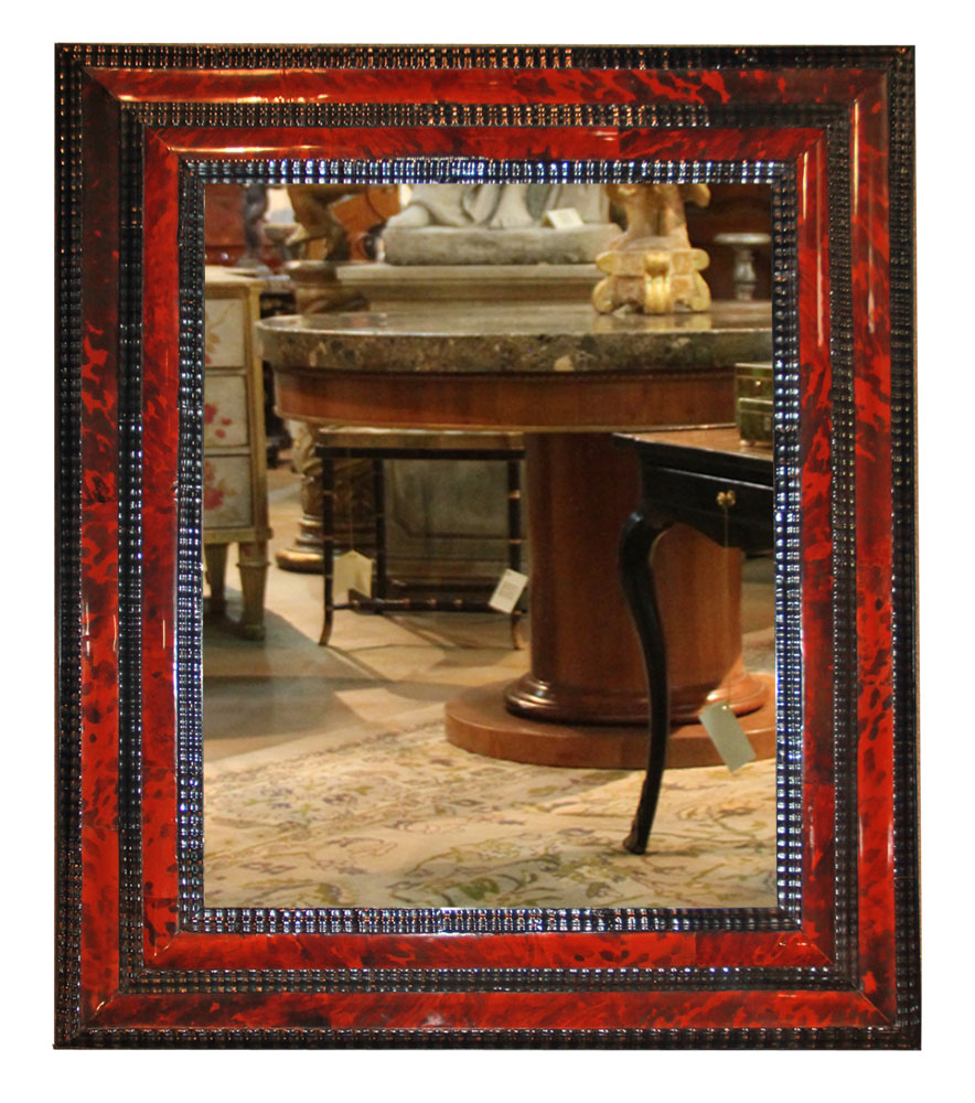 A 19th Century Flemish Black Lacquer and Red Tortoiseshell Mirror No. 4602