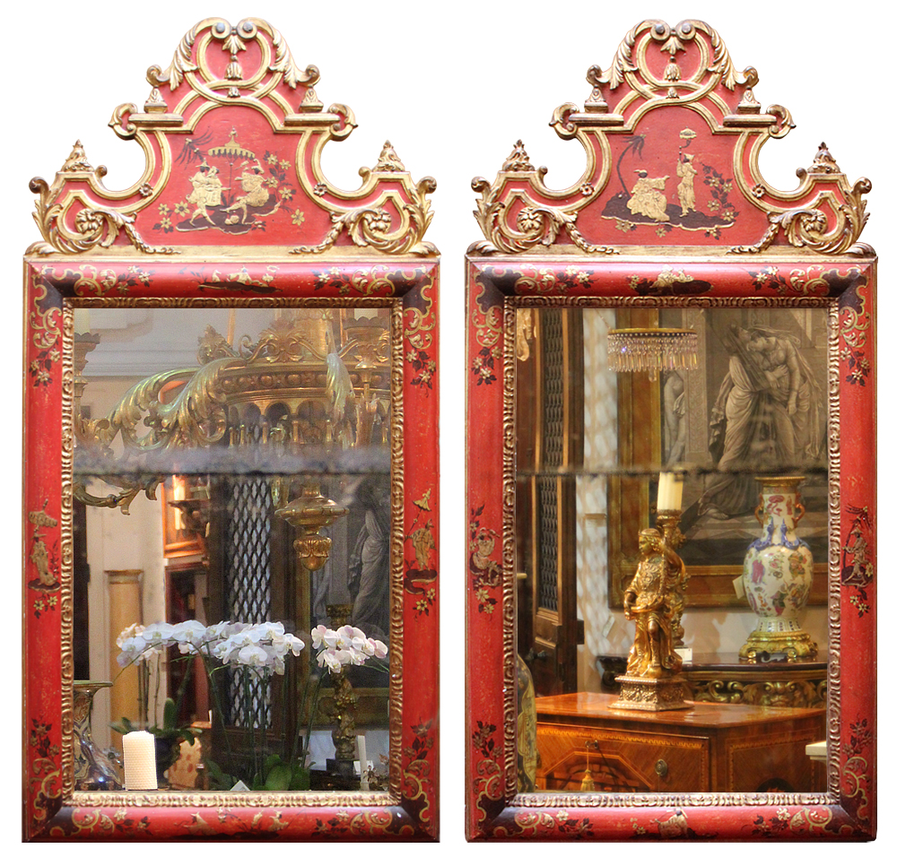 A Striking Pair of Late 18th Century Italian Parcel-Gilt and Polychrome Red Lacquer Chinoiserie Mirrors No. 4608