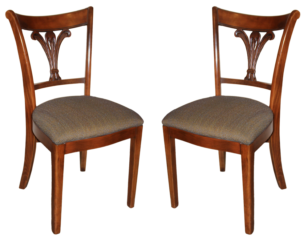 A Pair of 19th Century English Regency Cherry Wood Side Chairs No. 4604