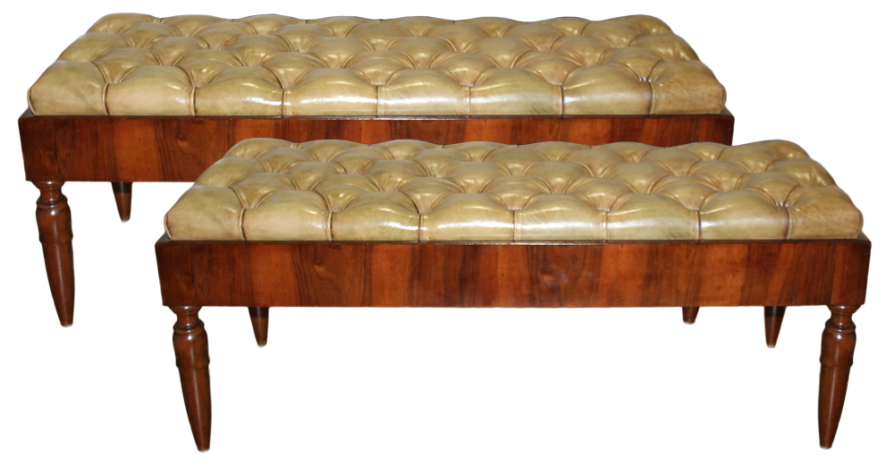 A Pair of 19th Century French Directoire Walnut Benches No. 4606