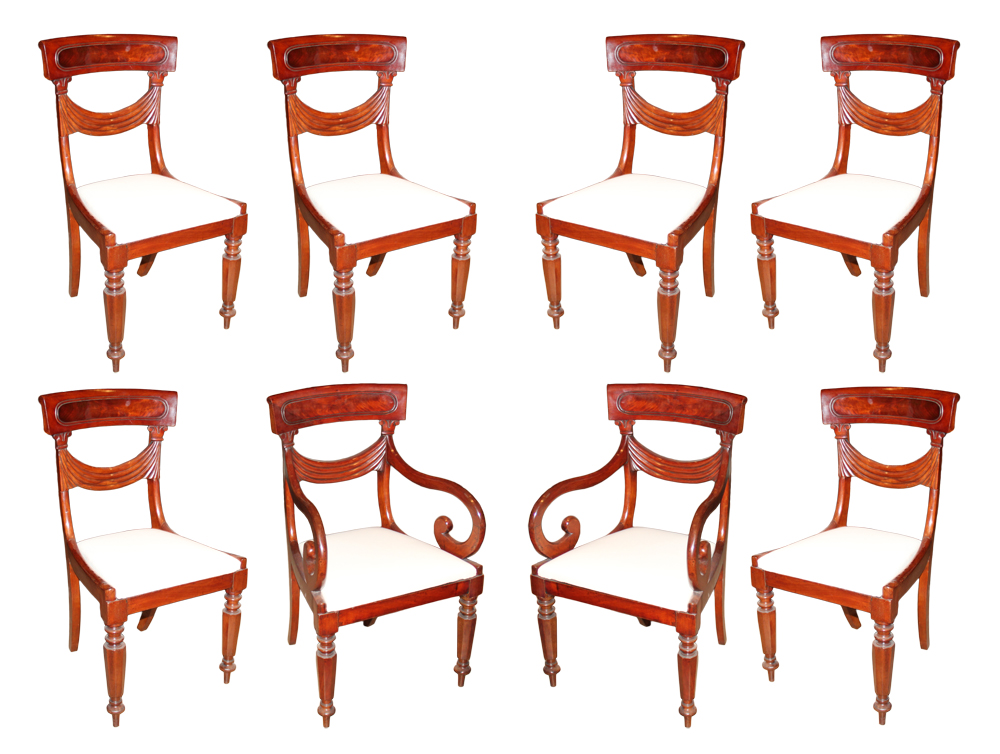 A Set of Eight 19th Century English Regency Mahogany Dining Chairs No. 4612