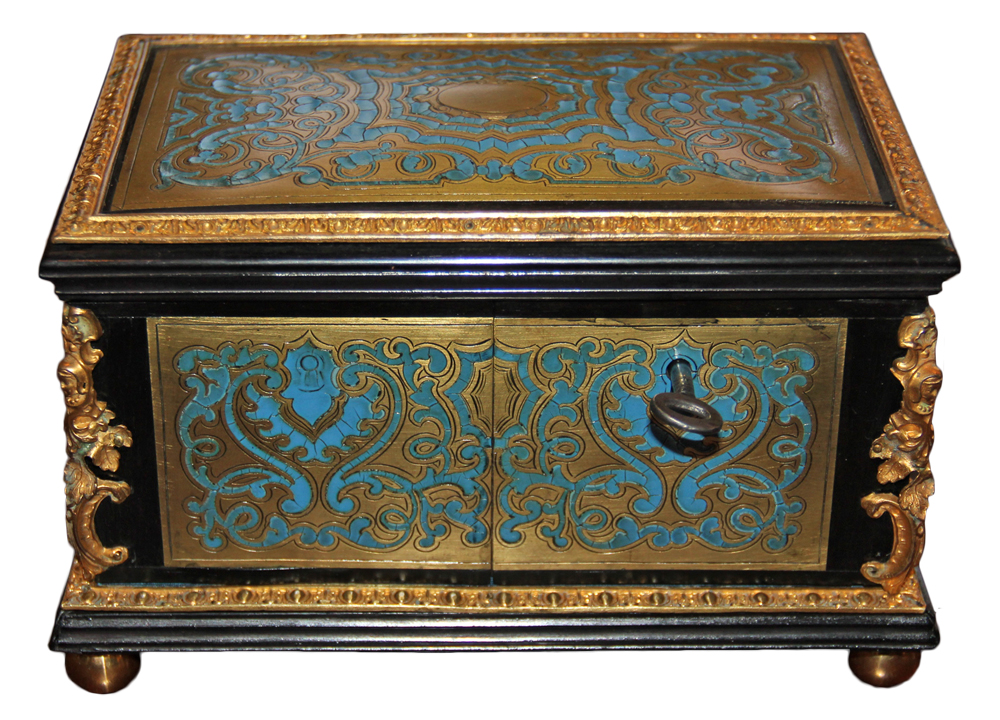 A Rare 19th Century French Powder Blue Enamel Marquetry Boullework and Ebonized Box No. 4614