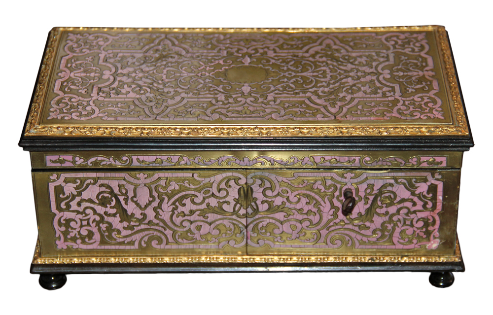 A Rare French 19th Century Pink Enamel Marquetry Boullework Ebonized Box No. 4615