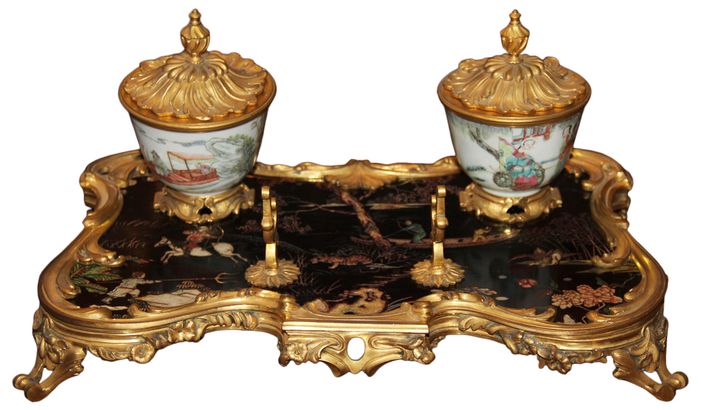 A 19th Century French Louis XV Style Bronze Doré, Black Lacquer and Porcelain Chinoiserie Inkwell No. 4630