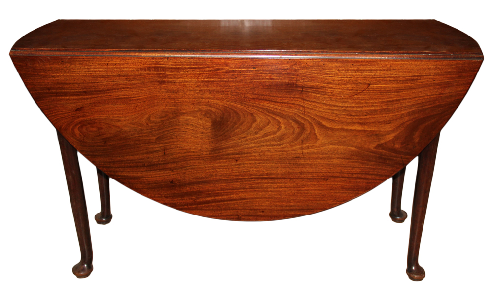 An 18th Century English Queen Anne Cuban Mahogany Drop-Leaf Table No. 4637