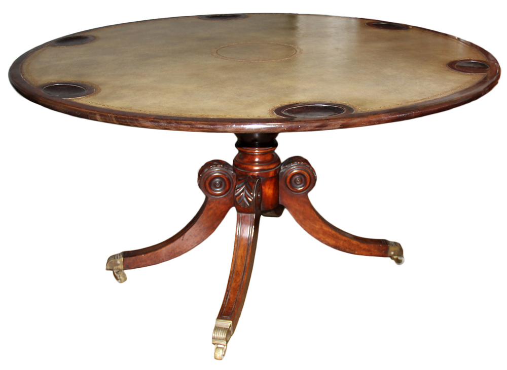 A 19th Century English Regency Burl Mahogany Games Table No. 4649