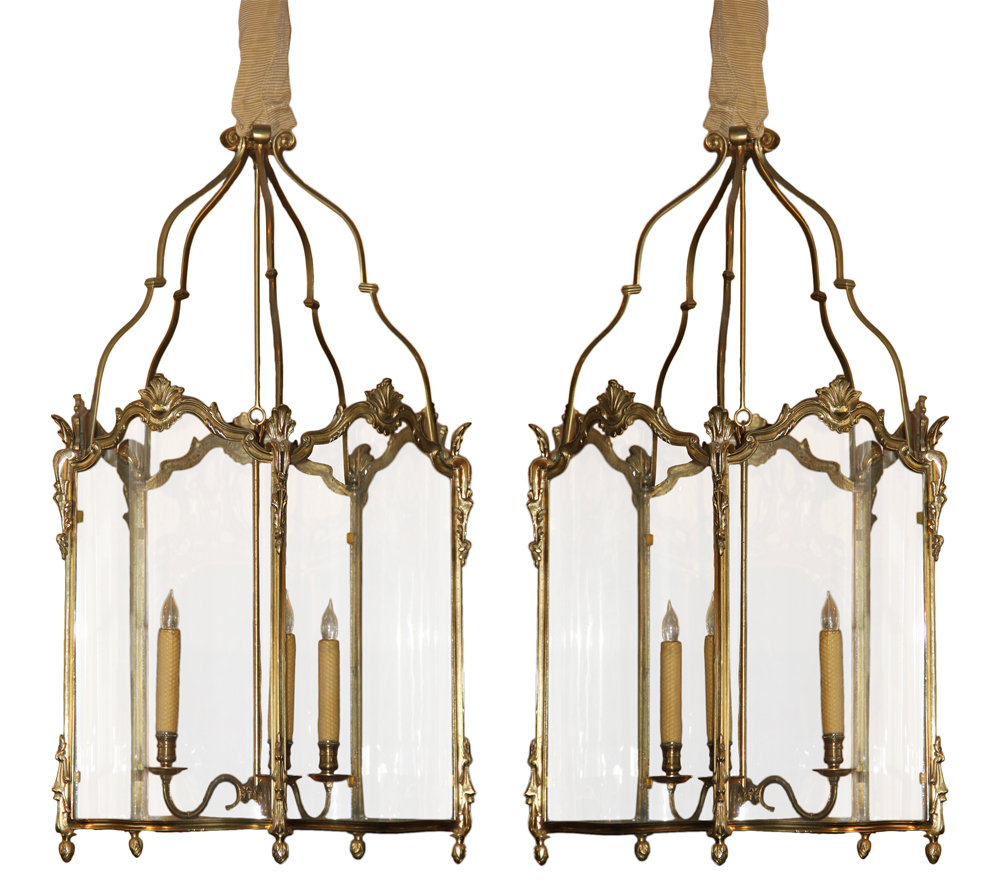 A Pair of 19th Century French Louis XV Style Gilt Bronze & Glass Lanterns No. 698