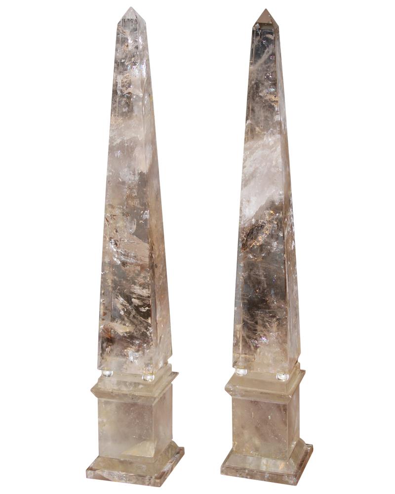 A Pair of Tall Rock Crystal Obelisks No. 4657