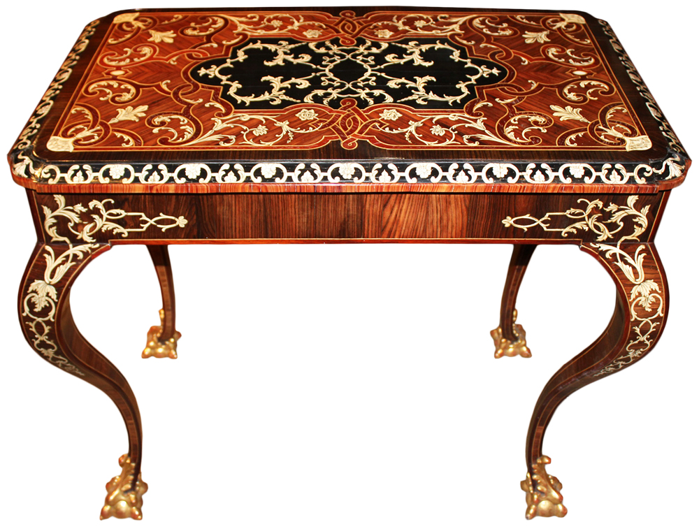 A Remarkable 18th Century Italian Rosewood, Ebony, Etched Bone and Palisander Inlaid Marquetry Table No. 4659