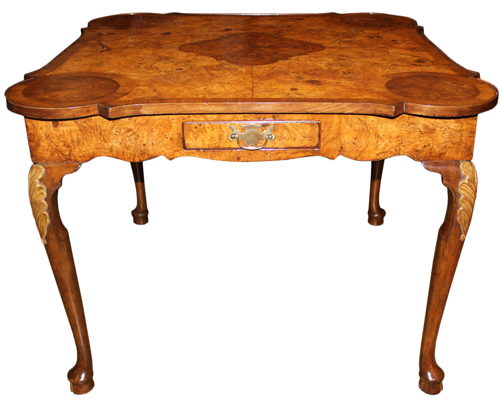 A Remarkable 18th Century English Burl Walnut Games Table No. 4692