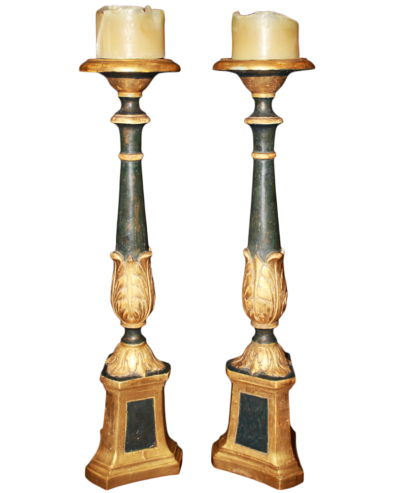 A Pair of 18th Century Italian Polychrome and Parcel-Gilt Pricket Candlesticks No. 4674