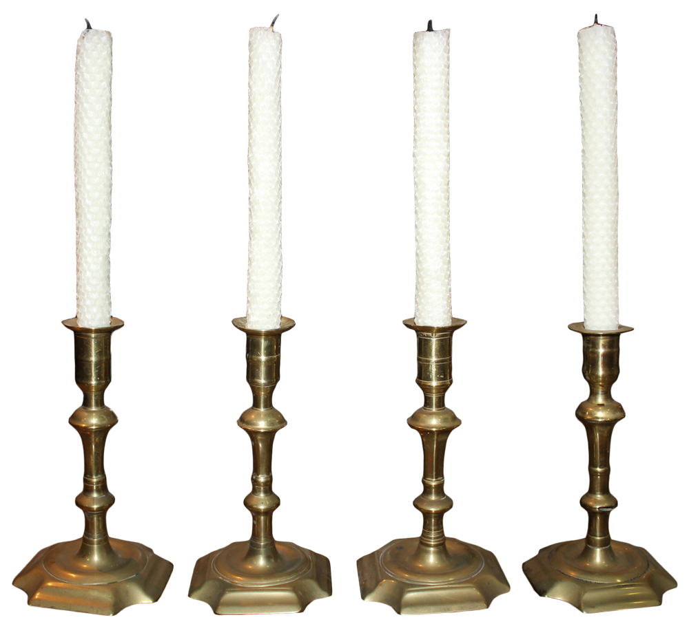 A Set of Four 19th Century English Brass Candlesticks No. 4676
