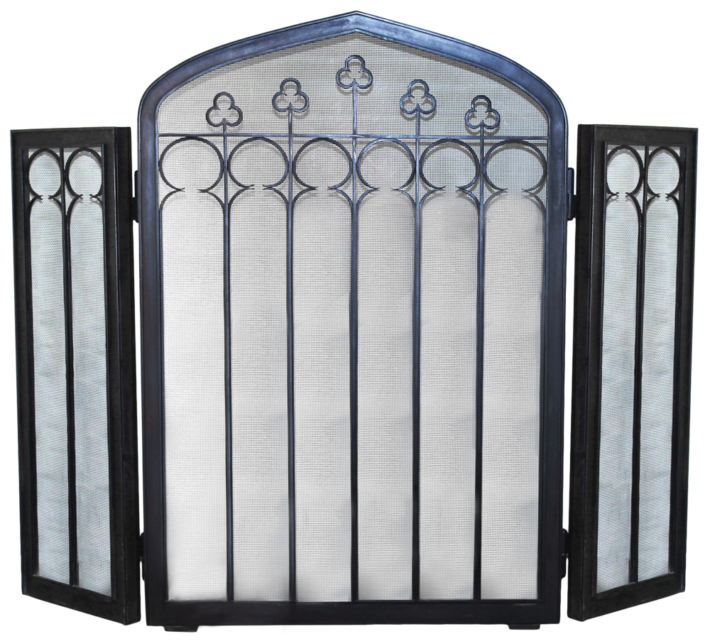 A Three-Sided Arched Iron Fire Screen No. 4681