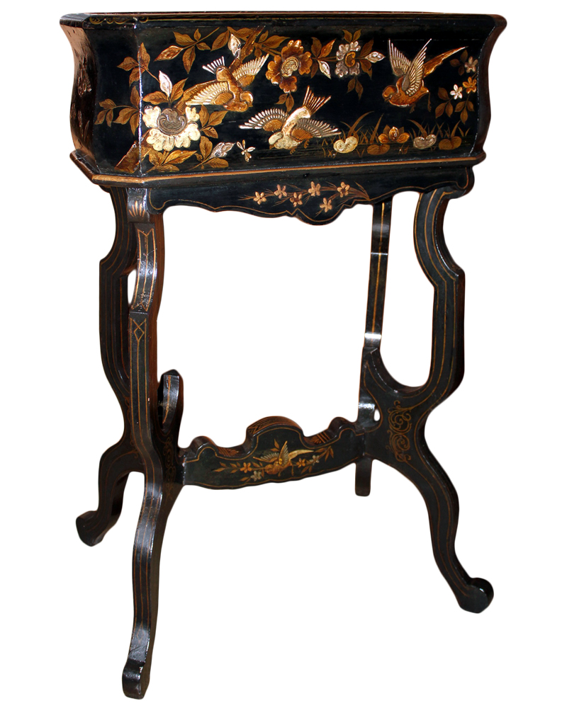 A 19th Century English Chinoiserie Black Lacquered Jardinière Raised on a Conforming and Shaped Stand No. 4686