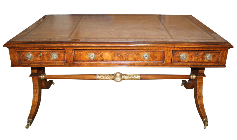 A 19th Century English Regency Burl Elmwood and Parcel-Gilt Partners Desk No. 4689