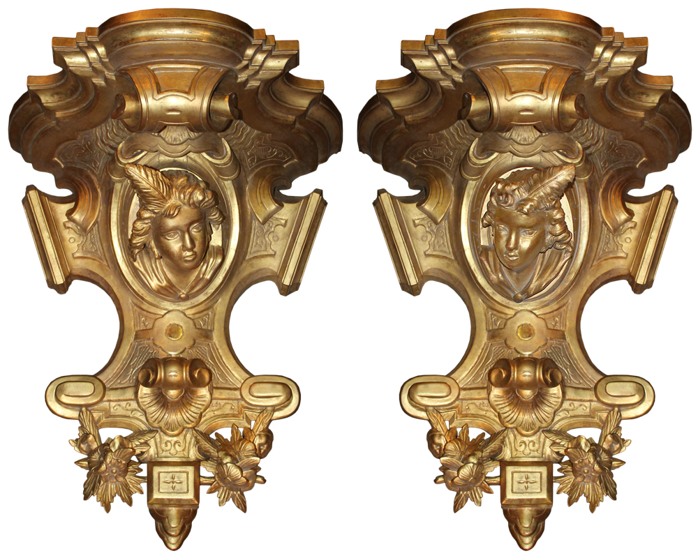 A Pair of 18th Century Italian Giltwood Wall Appliqués No. 4694