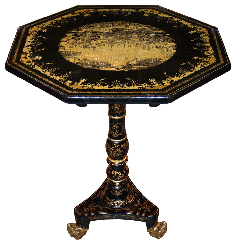 A 19th Century English Regency Chinese Export Black Lacquer and Parcel-Gilt Chinoiserie Tea Table No. 4699