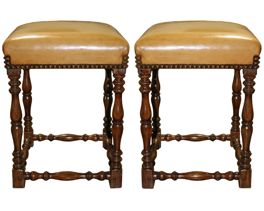 A Pair of Vintage Walnut and Upholstered Stools No. 4704
