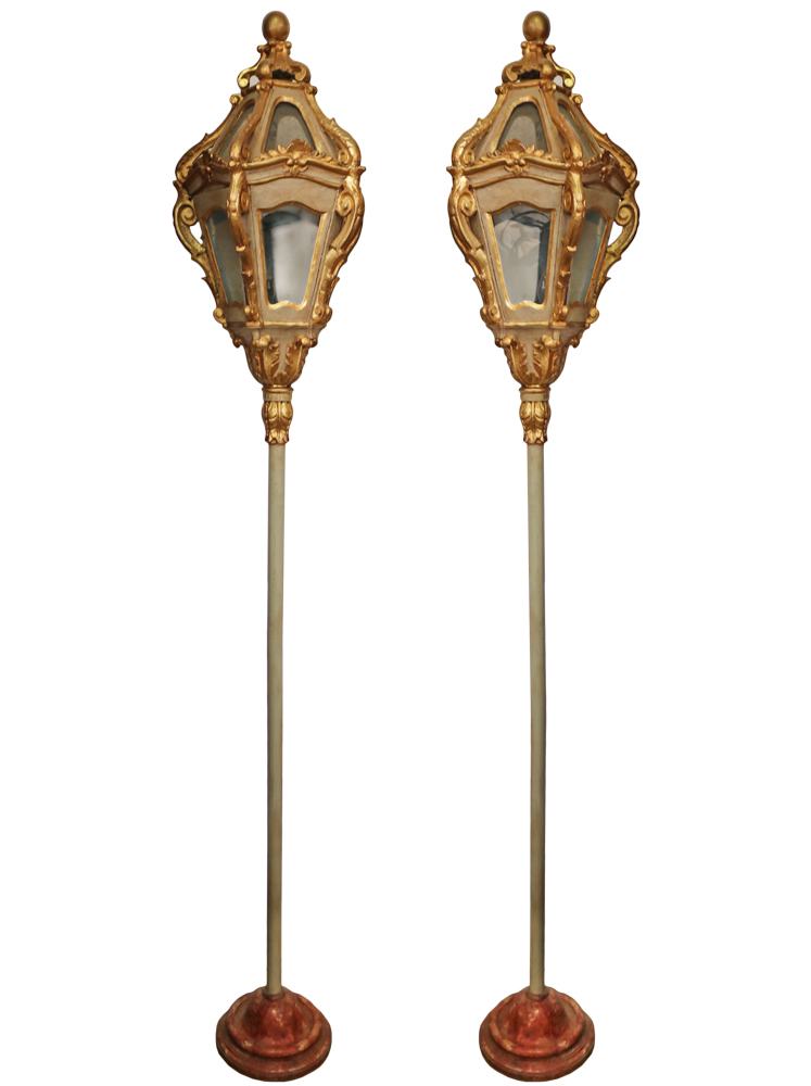 A Pair of 18th Century Parcel-Gilt and Polychrome Venetian Lanterns No. 4706
