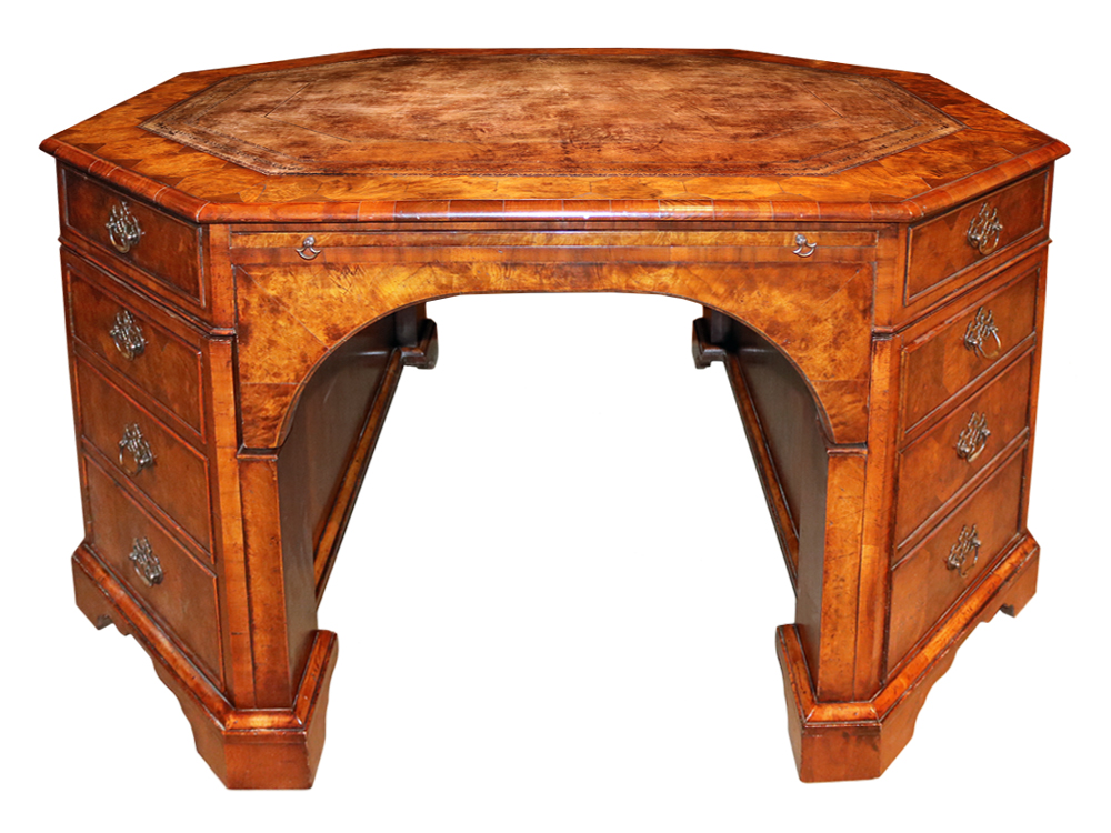 A 19th Century English Walnut Octagonal Partner's Desk No. 4710