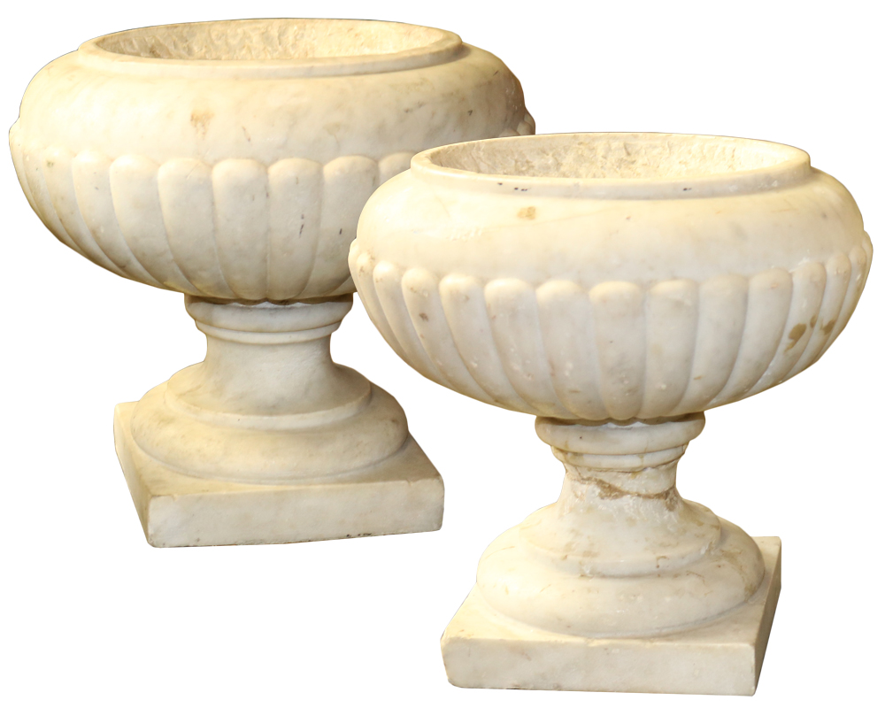 A Pair of 19th Century Italian Marble Urns No. 4717