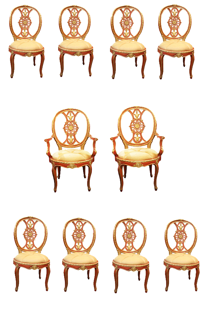 A Set of Ten 18th Century Venetian Red Polychrome Parcel-Gilt Dining Chairs No. 4725