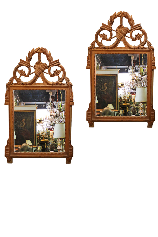 A Pair of 18th Century Transitional Louis XV-Louis XVI Giltwood Mirrors No. 4729