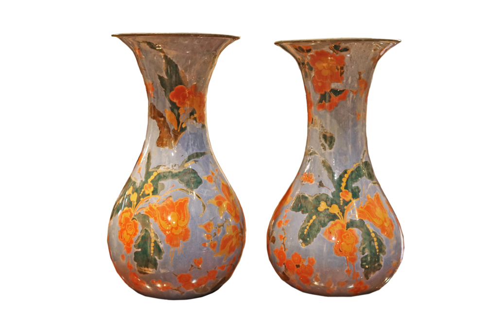 An Unusual and Pristine Pair of Late 18th Century Piedmontese Reverse Painted Italian Glass Vases No. 4732
