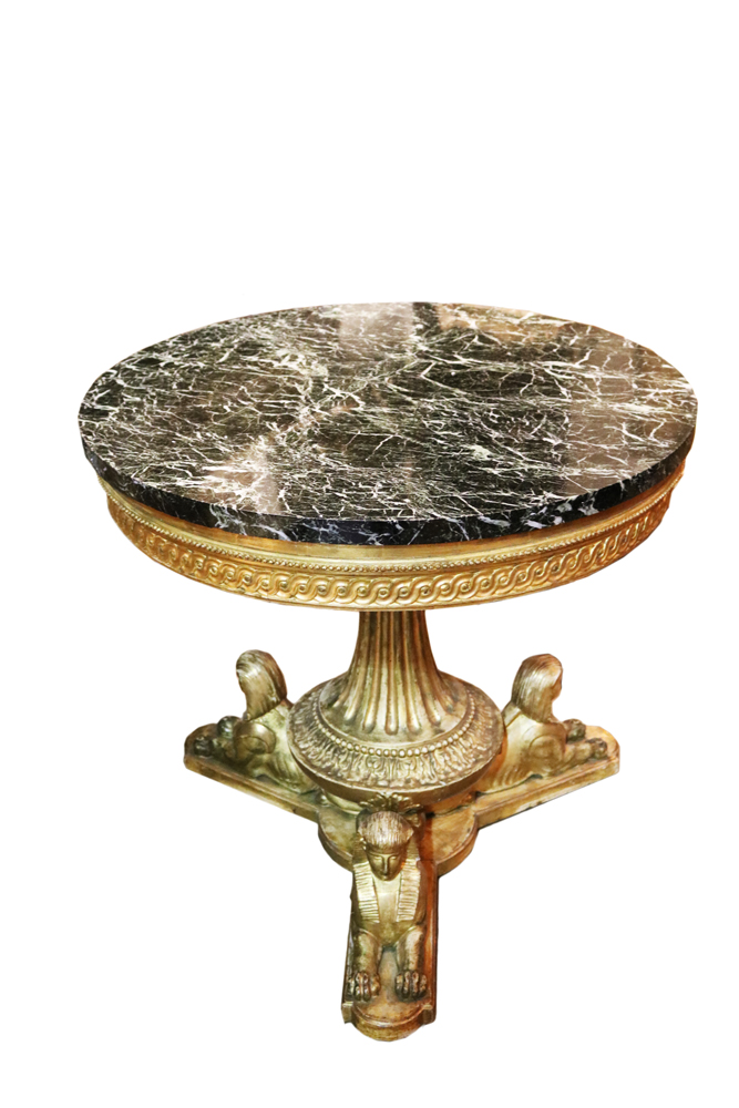 A Late 18th c. Louis XVI Italian Egyptian Revival Gilded Center Table No. 4733